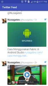 Screenshoot Twitter Feed di Activity Android 2